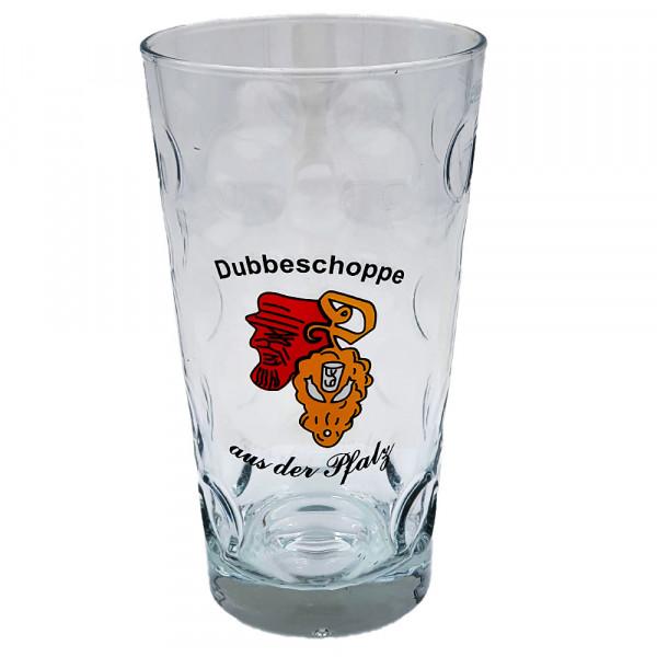 "Dubbeglas ""Dubbeschoppe aus der Pfalz"", 0,5 Liter"