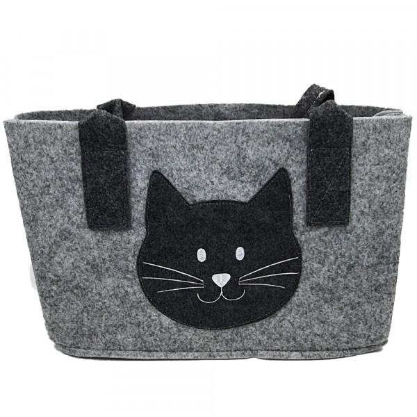 Einkaufstasche aus Filz mit Katzenkopf (hellgrau)