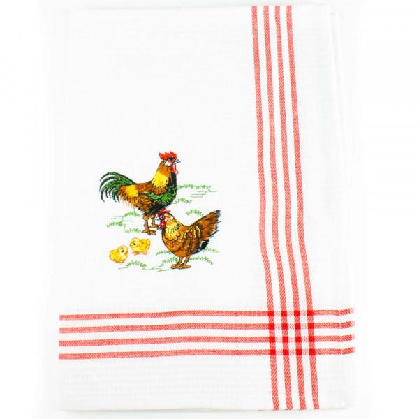 Geschirrtuch mit Hühnermotiv, Waffelpique