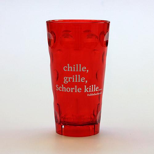 """Dubbeglas aus Kunststoff, Aufdruck: """"chille, grille, Schorle kille"""", rot, unzerbrechlich, 0,5 Liter"""