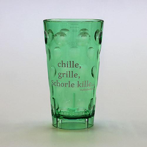 """Dubbeglas aus Kunststoff, Aufdruck: """"chille, grille, Schorle kille"""", grün, unzerbrechlich, 0,5 Liter"""