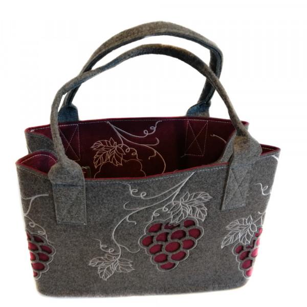Einkaufstasche aus Filz mit Weintrauben (dunkelgrau)