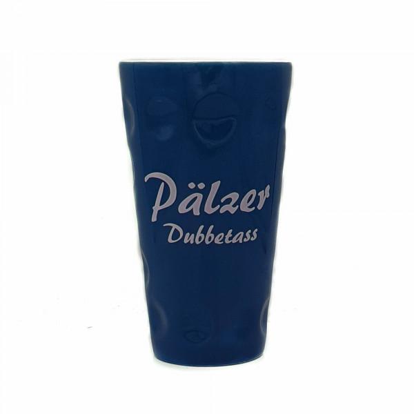 """Dubbetasse mit Aufdruck """"Pälzer Dubbetass"""", blau, 0,5 Liter"""