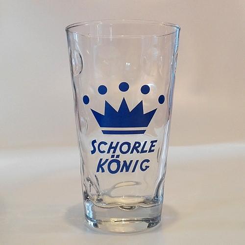 """Dubbeglas mit Aufdruck: """"Schorle König"""" in blau, 0,5 Liter"""