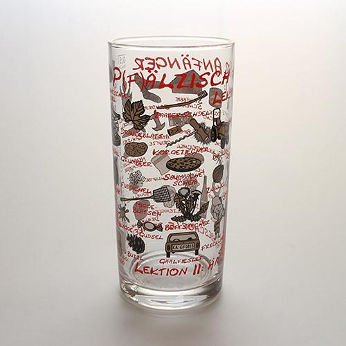 Schoppenglas 'Pfälzisch für Anfänger', rot, 0,5 Liter