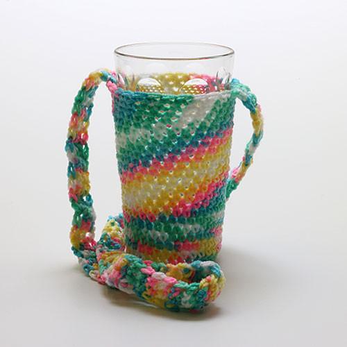 Glashalter gehäkelt, Regenbogen (mit Glas)