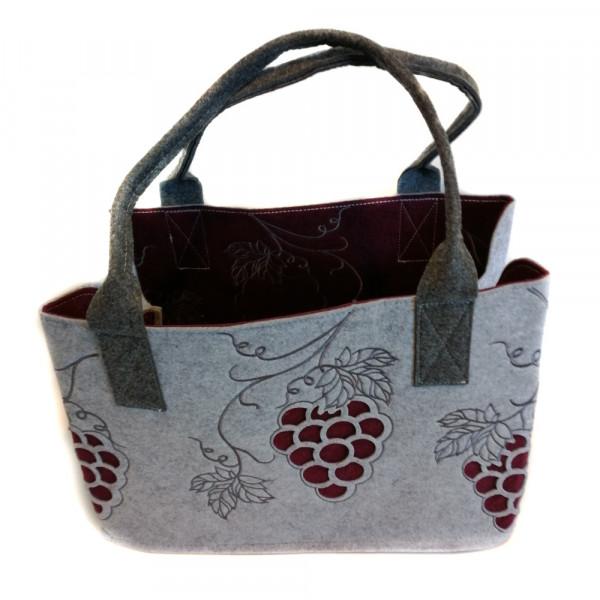 Einkaufstasche aus Filz mit Weintrauben (hellgrau)