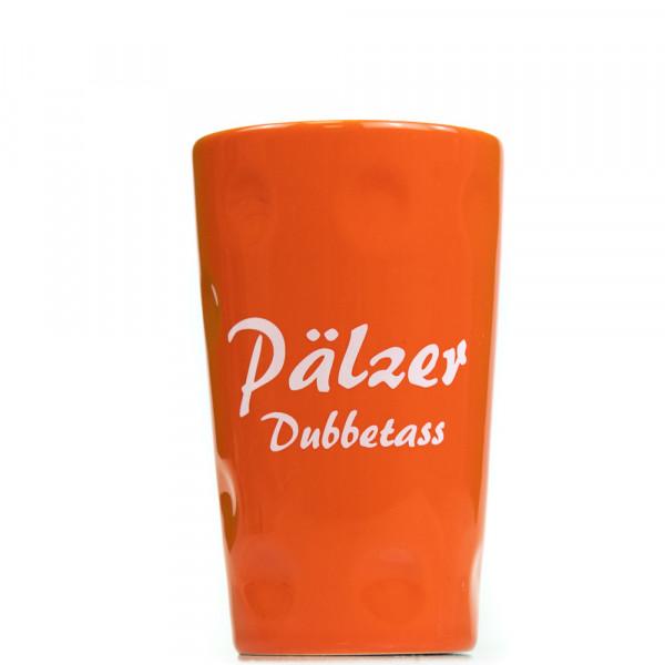 """Dubbetasse mit Aufdruck """"Pälzer Dubbetass"""", orange, 0,2 Liter"""