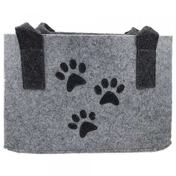 Einkaufstasche aus Filz mit Hundepfoten (hellgrau)