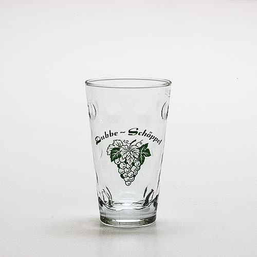 """Dubbeglas """"Dubbe-Schöppel und Rebe"""", 0,25 Liter"""