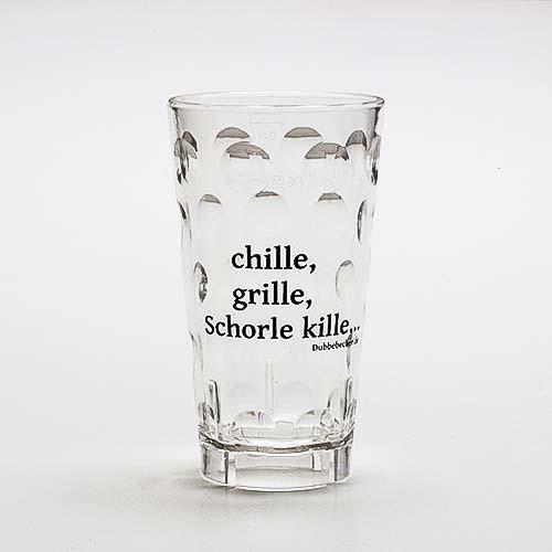 """Dubbeglas aus Kunststoff, Aufdruck: """"chille, grille, Schorle kille"""", unzerbrechlich, 0,5 Liter"""