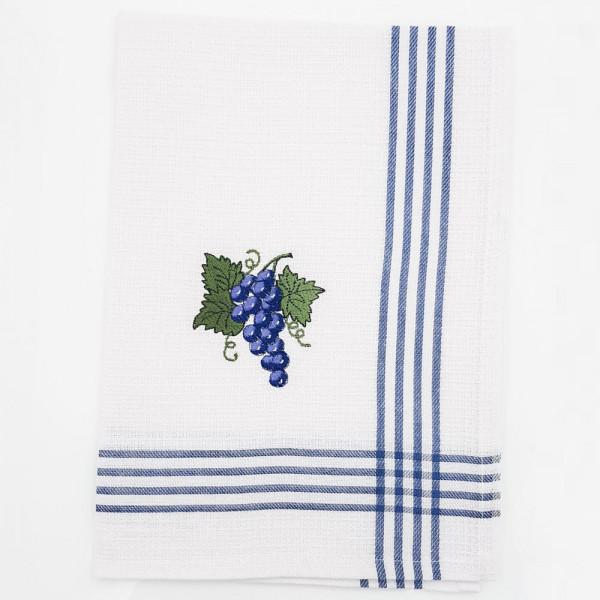 Geschirrtuch mit Traubenmotiv blau, Waffelpique