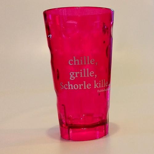 """Dubbeglas aus Kunststoff, Aufdruck: """"chille, grille, Schorle kille"""", pink, unzerbrechlich, 0,5 Liter"""