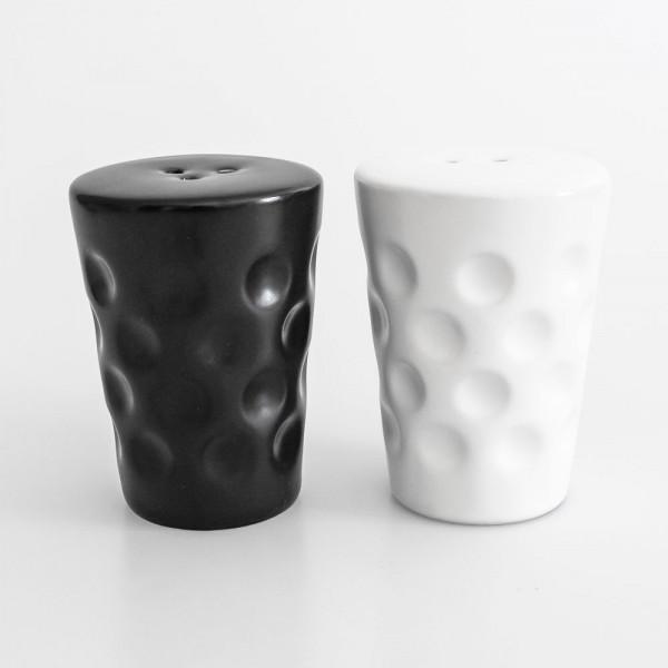 Dubbestreuer Salz+Pfeffer aus Keramik in schwarz und weiß
