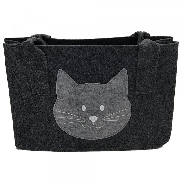 Einkaufstasche aus Filz mit Katzenkopf (dunkelgrau)